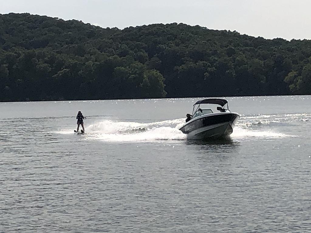 Boat and skier at Grande Vista Bay
