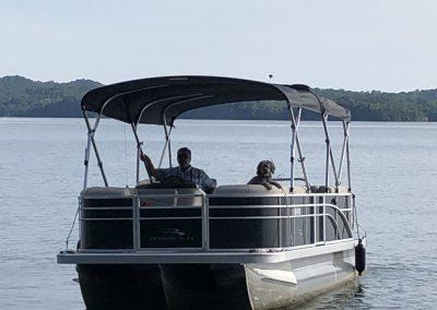 Man and dog, boating on WBL