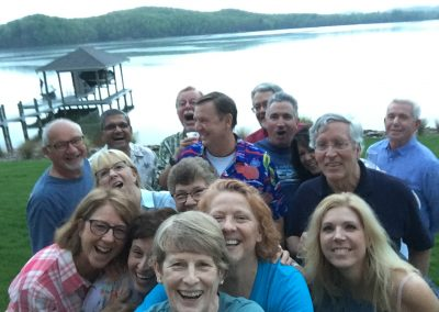 Group selfie celebration lakefront