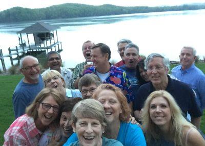 Group selfie celebration lakefront