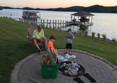 Building a bonfire at Grande Vista Bay