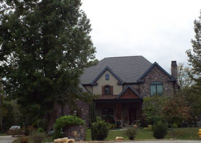 Front elevation of GBV brick and stucco home
