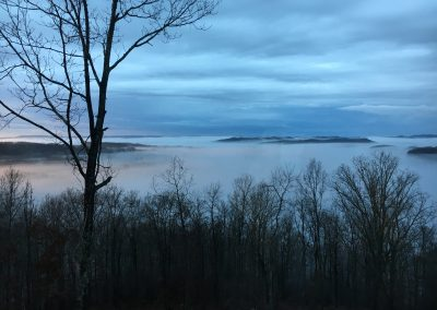 Cloud cover and fog on the lake.