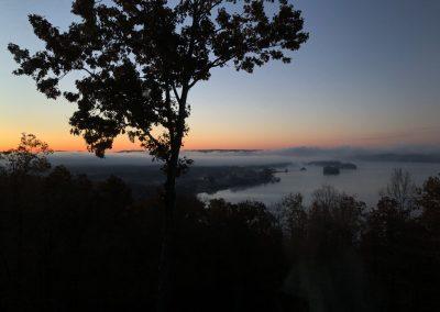 Sunrise and fog on the lake.