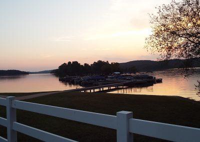 Sunset on the boat docks at Grande Vista Bay